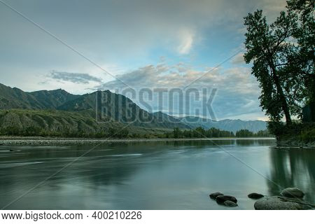 Altai landscape with the Katun river and rocky peaks