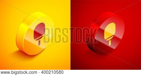 Isometric Racket For Playing Table Tennis Icon Isolated On Orange And Red Background. Circle Button.