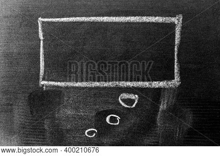 White Color Chalk Hand Drawing In Square Thinking Bubble Speech Shape With Blank Space On Black Boar