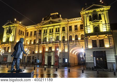 Vilnius, Lithuania - December 18 2020: Lithuanian National Philharmonic In Vilnius, Night View With