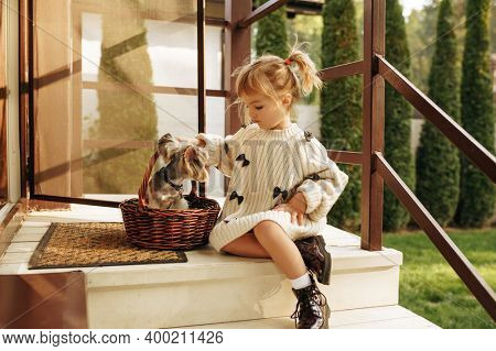 Kid with dog in basket are sitting on the stairs
