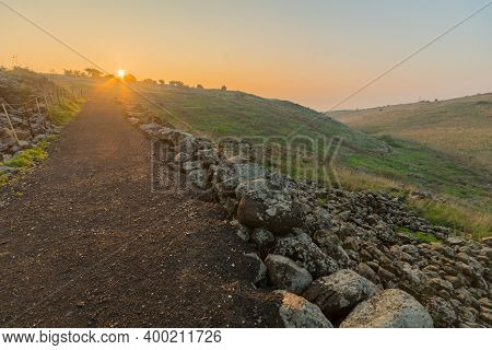 Sunrise View From The Ancient Village Of Chorazin (korazim) Towards The Sea Of Galilee. Northern Isr