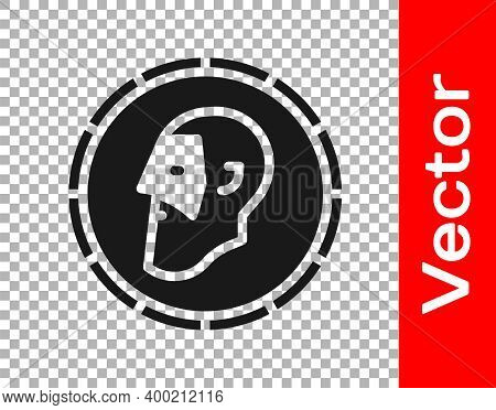 Black Ancient Coin Icon Isolated On Transparent Background. Vector