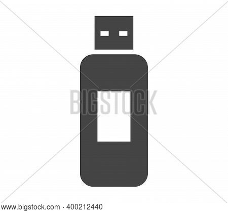 Flash Drive Bold Black Silhouette Icon Isolated On White. Usb Data Storage Device. External Memory.