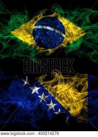 Brazil, Brazilian Vs Bosnia And Herzegovina, Bosnian, Herzegovinian Smoky Mystic Flags Placed Side B