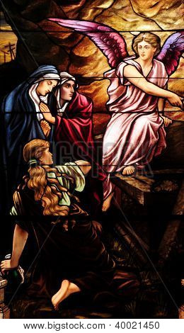 Stained glass window of Resurrection of Jesus Christ