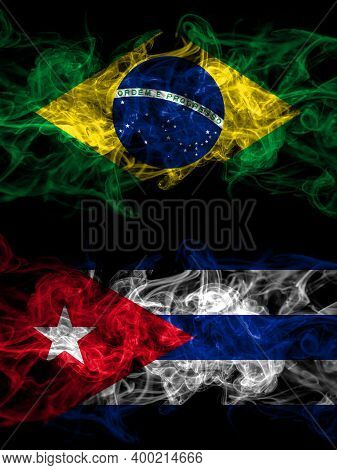 Brazil, Brazilian Vs Cuba, Cuban Smoky Mystic Flags Placed Side By Side. Thick Colored Silky Abstrac