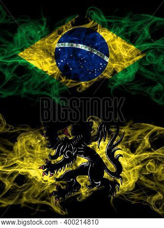 Brazil, Brazilian Vs Flanders, Flemish Smoky Mystic Flags Placed Side By Side. Thick Colored Silky A