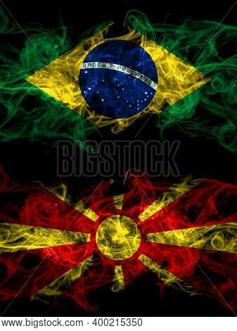 Brazil, Brazilian Vs Macedonia, Macedonian Smoky Mystic Flags Placed Side By Side. Thick Colored Sil