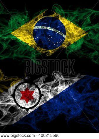 Brazil, Brazilian Vs Netherlands, Dutch, Holland, Bonaire Smoky Mystic Flags Placed Side By Side. Th