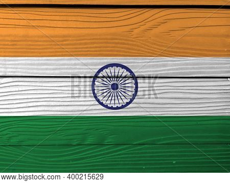 Flag Of India On Wooden Wall Background. Grunge Indian Flag Texture, Tricolor Of India Saffron, Oran