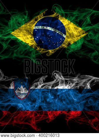 Brazil, Brazilian Vs Slovenia, Slovenian Smoky Mystic Flags Placed Side By Side. Thick Colored Silky