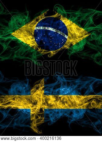 Brazil, Brazilian Vs Sweden, Swedish Swede Smoky Mystic Flags Placed Side By Side. Thick Colored Sil