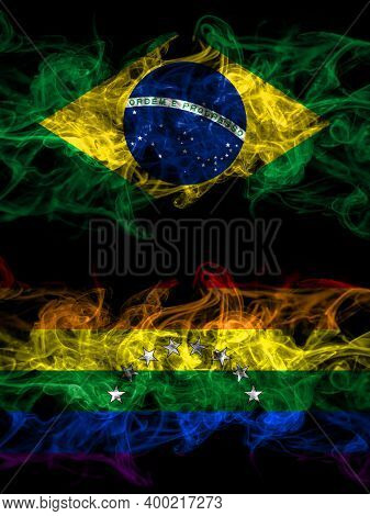 Brazil, Brazilian Vs Venezuela, Gay Smoky Mystic Flags Placed Side By Side. Thick Colored Silky Abst