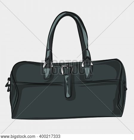 Classic Basic Tote Bag Made Of Artificial Leather, Eco-leather. Basic Wardrobe. A Set Of Bags, Shoes