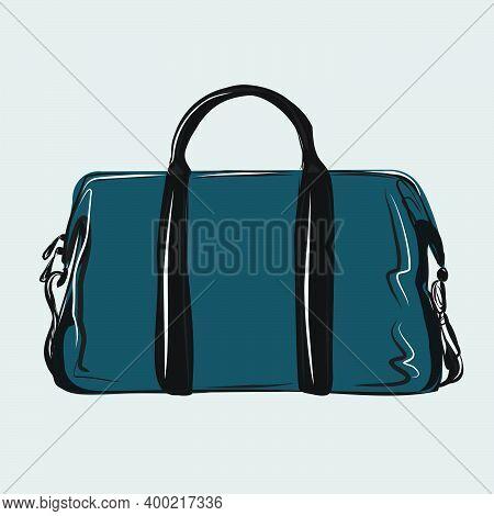 A Classic Indigo Basic Tote Bag. Shopping. Basic Wardrobe. A Set Of Bags, Shoes, Clothes. Vector Iso
