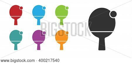 Black Racket For Playing Table Tennis Icon Isolated On White Background. Set Icons Colorful. Vector