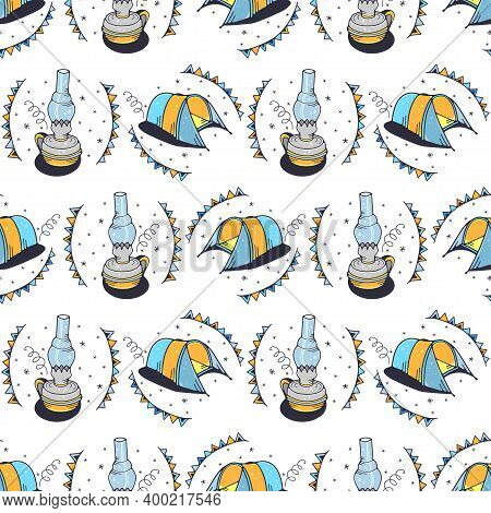 A Kerosene Lamp And Tourist Tents. Seamless Pattern On A White Background. Cute Vector Illustration.