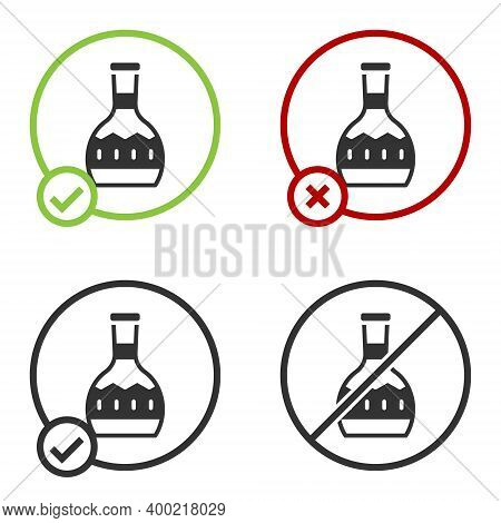 Black Tequila Bottle Icon Isolated On White Background. Mexican Alcohol Drink. Circle Button. Vector