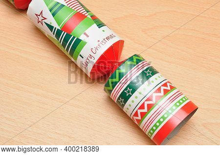 Close Up Of A Colorful Christmas Cracker