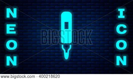 Glowing Neon Marker Pen Icon Isolated On Brick Wall Background. Felt-tip Pen. Vector