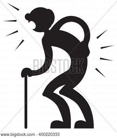 An Old Man With A Cane Is Having Trouble Walking Because Of Pain