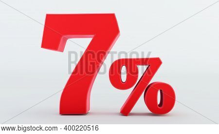 Red Seven ( 7 ) Percent Isolated  On A White Background., 7 Percent Off, 3d Render