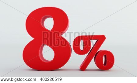 Red Eight ( 8 ) Percent Isolated  On A White Background., 8 Percent Off, 3d Render