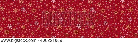 Snowflake Border Background. Vector Seamless Pattern With Small Gold And Silver Snowflakes On Red. L