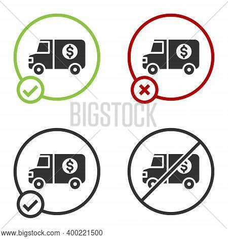 Black Armored Truck Icon Isolated On White Background. Circle Button. Vector