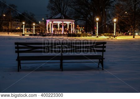 NORWALK, CT, DECEMBER 19, 2020:  Gazebo On The Green Park Street and East avenue.