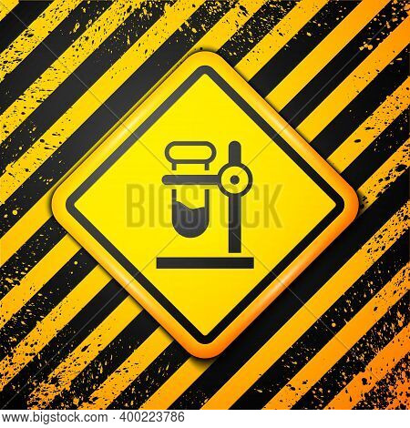 Black Glass Test Tube Flask On Stand Icon Isolated On Yellow Background. Laboratory Equipment. Warni