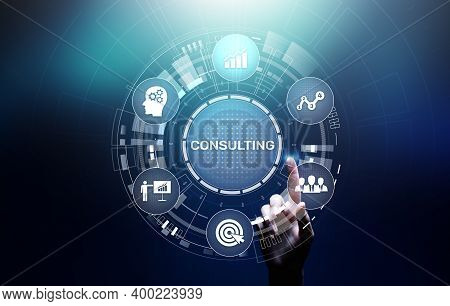 Business Consulting Concept On The Virtual Screen.