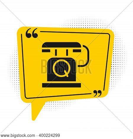 Black Telephone Handset Icon Isolated On White Background. Phone Sign. Yellow Speech Bubble Symbol.