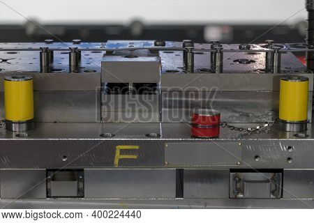 Close-up Scene Of Progressive Die Operation. The Metal Work Processing By Stamping Die.