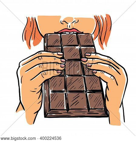 The Girl Holds A Bar Of Chocolate With Two Hands And Takes A Bite. Color Vector Illustration.
