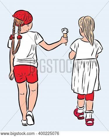 Drawing Of Two Little Girls Strolling Together On Summer Day