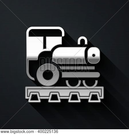 Silver Vintage Locomotive Icon Isolated On Black Background. Steam Locomotive. Long Shadow Style. Ve