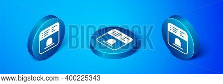 Isometric Ticket Office To Buy Tickets For Train Or Plane Icon Isolated On Blue Background. Buying T