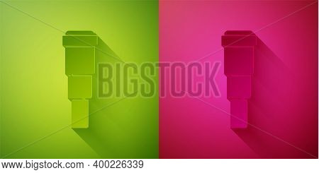 Paper Cut Spyglass Telescope Lens Icon Isolated On Green And Pink Background. Sailor Spyglass. Paper