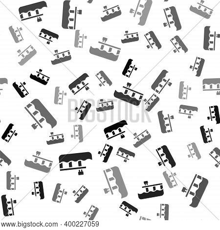 Black Beach Pier Dock Icon Isolated Seamless Pattern On White Background. Vector