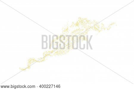 Horizontal Wavy Strip Sprinkled With Crumbs Golden Texture. Background Gold Dust On A White Backgrou