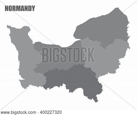 The Normandy Isolated Grayscale Map Divided In Provinces, France
