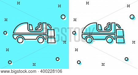 Black Line Ice Resurfacer Icon Isolated On Green And White Background. Ice Resurfacing Machine On Ri