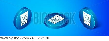 Isometric False Jaw In Glass Icon Isolated On Blue Background. Dental Jaw Or Dentures, False Teeth W