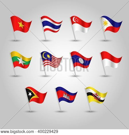 Vector Set Of Waving Flags Southeast Asia On Silver Pole - Icon Of States Brunei, Cambodia, East Tim