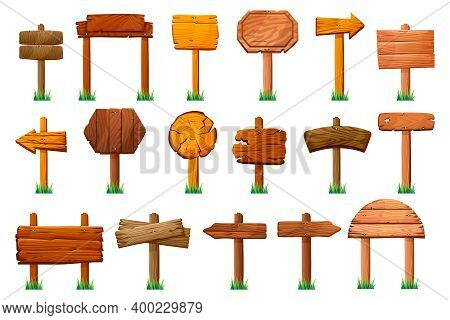 Wooden Signs Standing On Pillars At Green Grass Isolated Set. Wood Signboards, Arrows Direction And