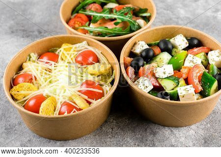 Healthy Food Delivery, Food Takeout. Fresh Vegetable Salad In Zero Waste Containers On Gray Backgrou