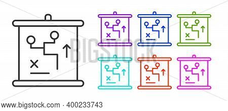 Black Line Planning Strategy Concept Icon Isolated On White Background. Cup Formation And Tactic. Se