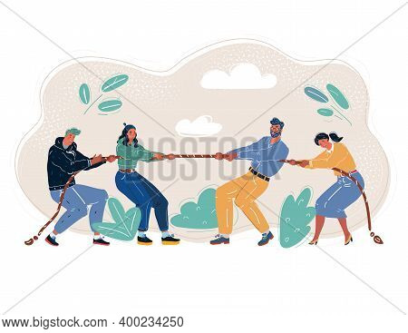 Vector Illustration Of Tug-of-war People. Battle Of The Generations. Business Competition Concept.